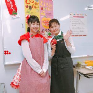 福岡大同青果にて青森県弘前産のりんごで親子クッキング♪